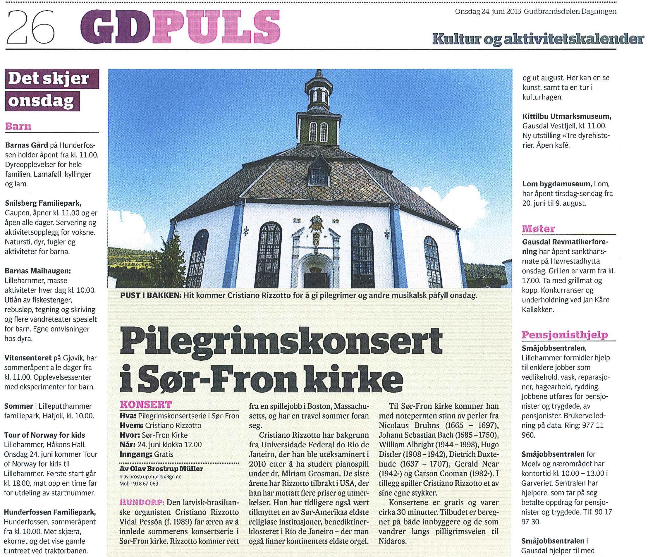 Gudbrandsdølen Dagningen (GDplus • www.gd.no) - Cristiano Rizzotto in Norway