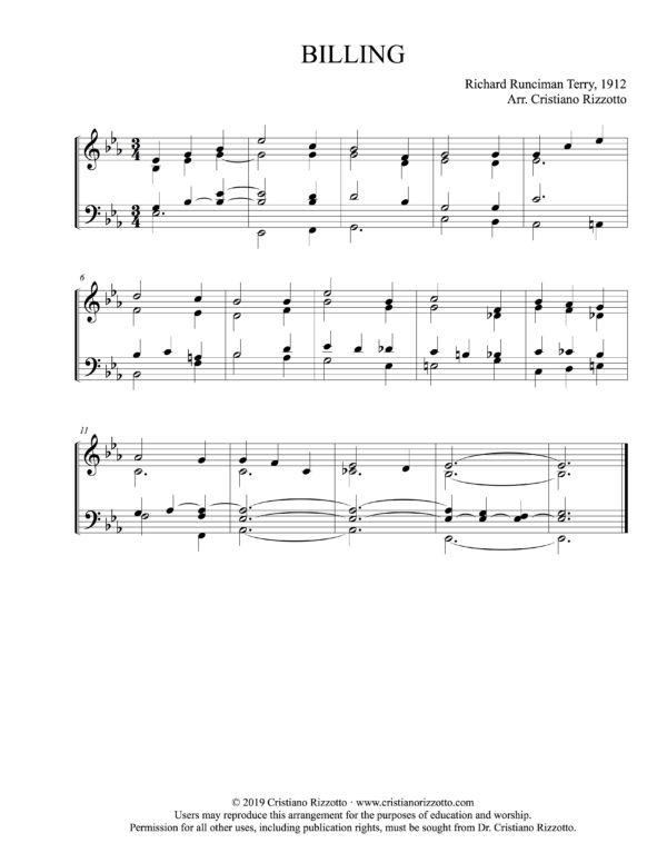 BILLING Hymn Reharmonization in E-Flat, Arrangement by Dr. Cristiano Rizzotto