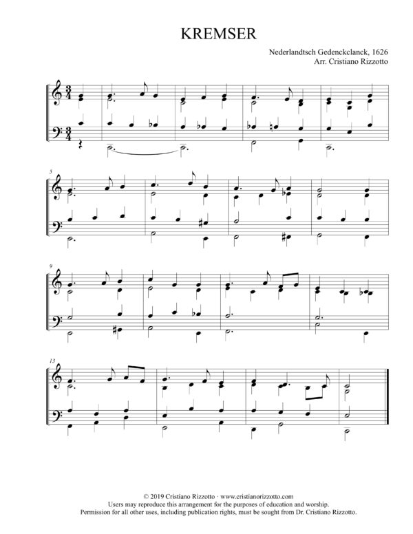 KREMSER Hymn Reharmonization, Arrangement by Dr. Cristiano Rizzotto