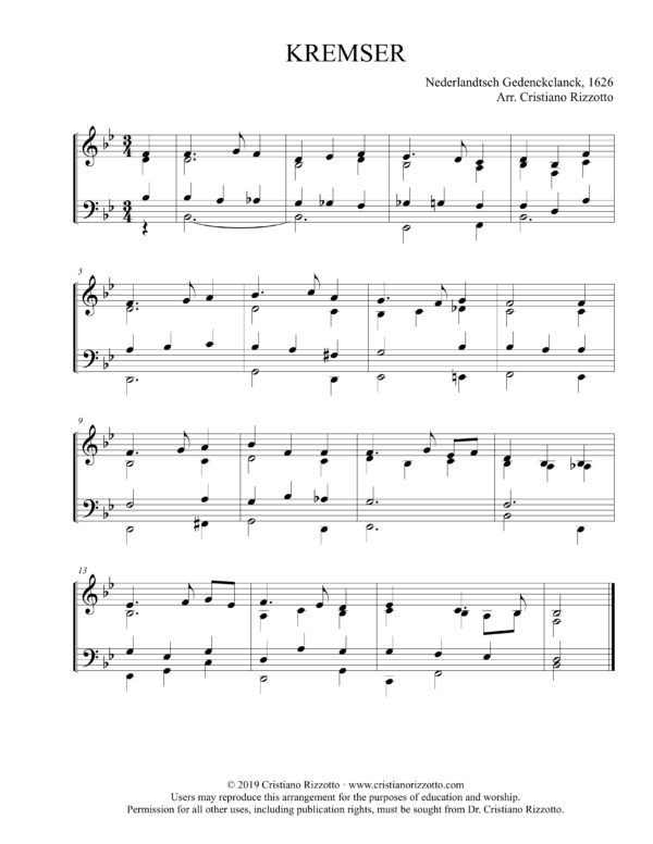KREMSER Hymn Reharmonization in B-Flat, Arrangement by Dr. Cristiano Rizzotto
