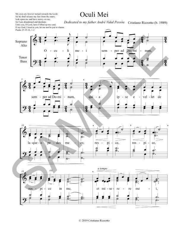 Cristiano Rizzotto – Oculi Mei (Choir A Cappella or Accompanied)