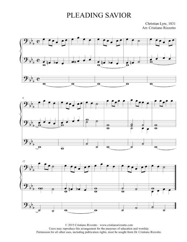 PLEADING SAVIOR Hymn Reharmonization in E-Flat – Cristiano Rizzotto