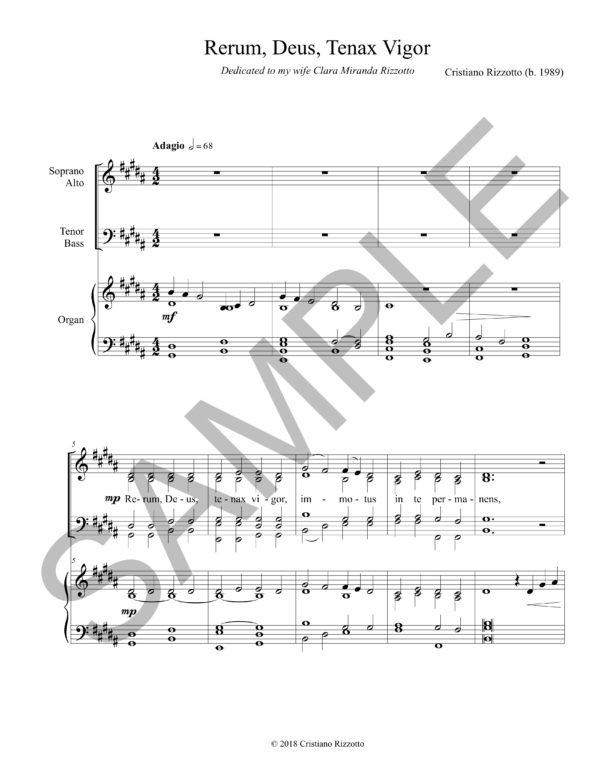 Cristiano Rizzotto – Rerum, Deus, Tenax Vigor (SATB Choir & Organ)