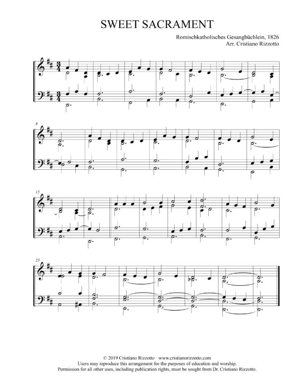 SWEET SACRAMENT Hymn Reharmonization, Arrangement by Dr. Cristiano Rizzotto