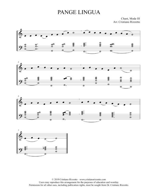 PANGE LINGUA Hymn Reharmonization, Arrangement by Dr. Cristiano Rizzotto (Dr. Kris Rizzotto)