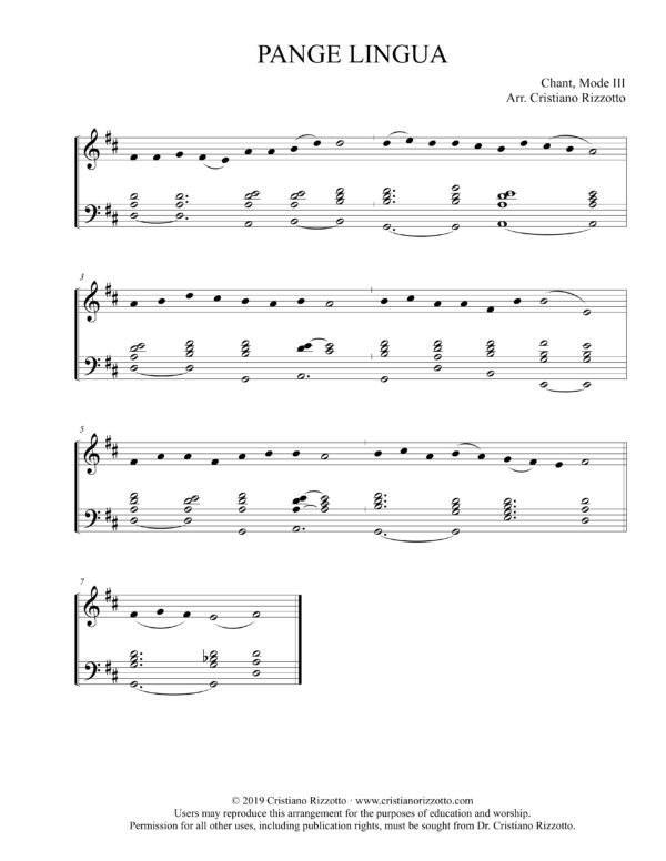 PANGE LINGUA Hymn Reharmonization, Arrangement by Dr. Cristiano Rizzotto (Dr. Kris Rizzotto)