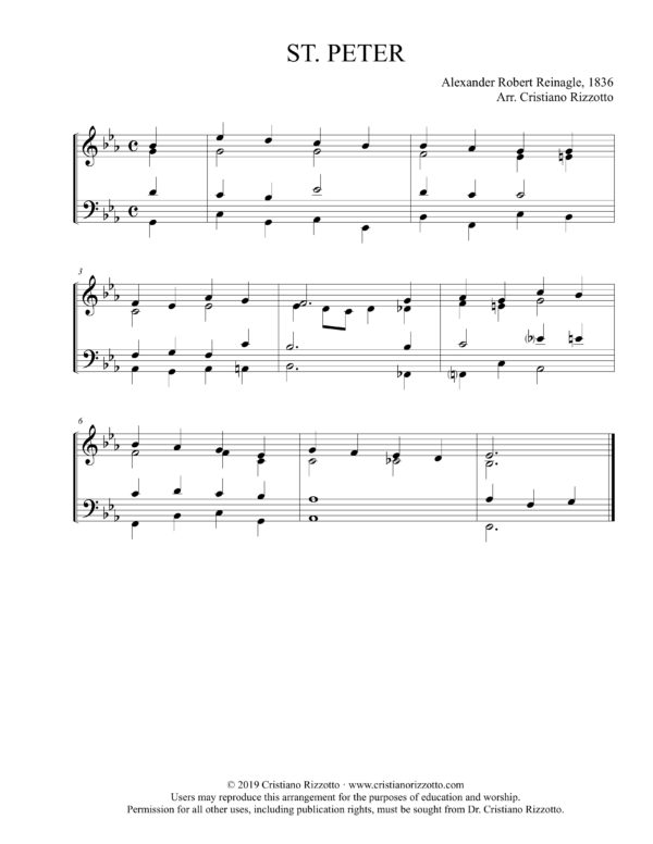ST. PETER Hymn Reharmonization, Arrangement by Dr. Cristiano Rizzotto (Dr. Kris Rizzotto)