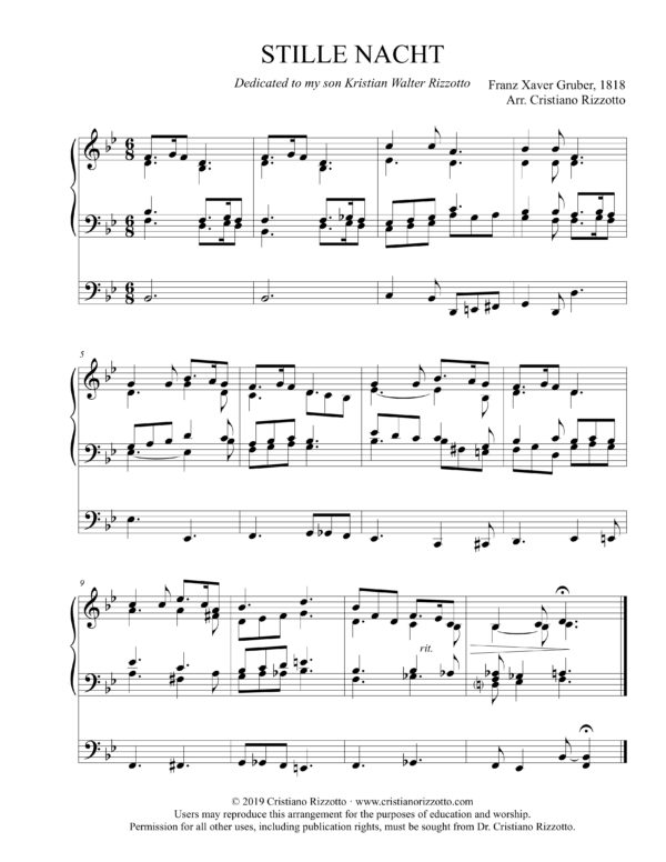 STILLE NACHT Hymn Reharmonization, Arrangement by Dr. Cristiano Rizzotto (Dr. Kris Rizzotto)