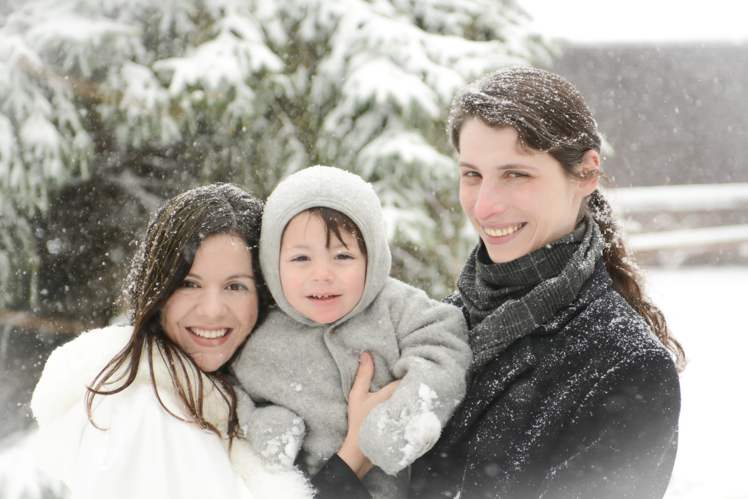 Dr. Kris Rizzotto, Dr. Clara Rizzotto, and Kristian Walter Rizzotto at home on a snowy Easter Sunday in Minnesota
